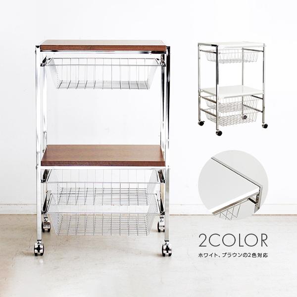 キッチンカウンター キッチンラック キッチン収納家具 食器収納 キッチン収納 木製 キャスター付き 50cm幅 シンプル ブラウン 幅50cm メイルオーダー 低廉