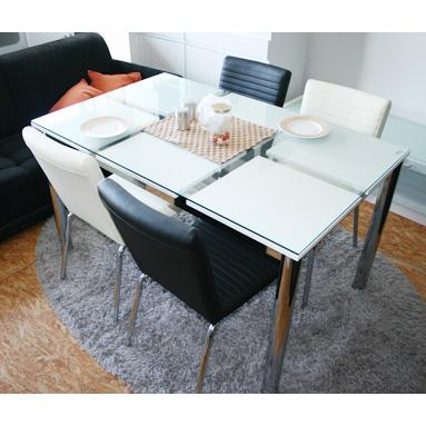 ダイニングテーブル ガラス製  幅130cm ホワイト 白 4人用 四人用 食堂テーブル 食卓テーブル カフェテーブル てーぶる