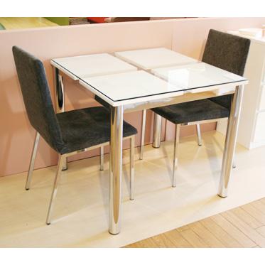 ダイニングテーブルのみ ガラス製 幅80cmカフェテーブル 食堂テーブル 食卓テーブル てーぶる 2人用 二人用 ホワイト 白
