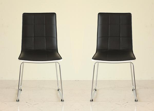 ダイニングチェアー 合皮張り製 モダン 2脚セット ブラック 食堂椅子 食堂イス 食卓チェアー 食堂チェアー カウンターチェアー いす カフェチェアー