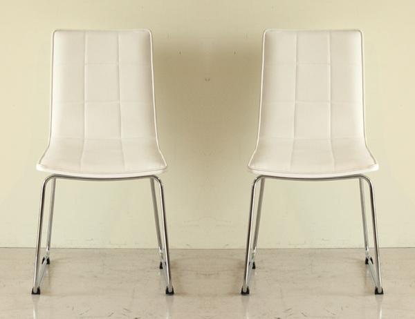 ダイニングチェアー 合皮張り製 モダン 2脚セット ホワイト 白 食堂椅子 食堂イス 食卓チェアー 食堂チェアー カウンターチェアー いす カフェチェアー