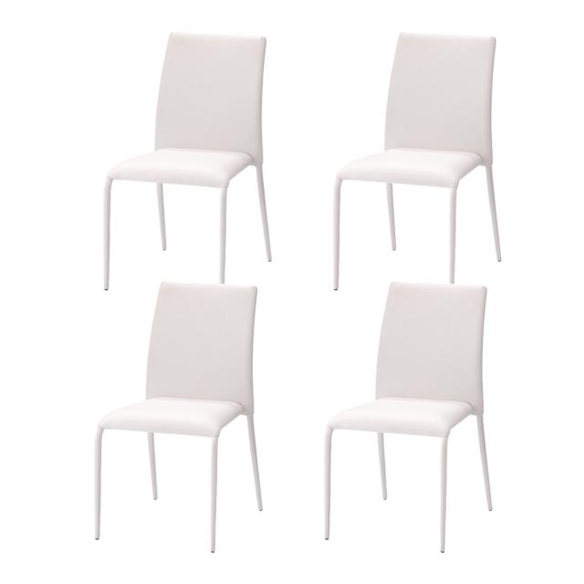ダイニングチェアー 4脚セット ホワイト 白 合皮張り製 モダン風 食堂椅子 食堂イス 食卓チェアー 食堂チェアー カウンターチェアー いす カフェチェアー