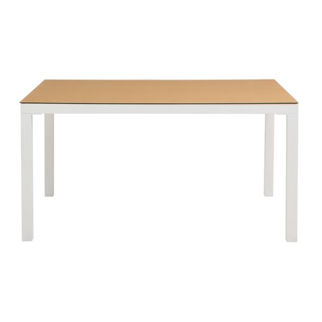 ダイニングテーブル 幅135cm ホワイト 白 ナチュラル ガラス製 モダン風 4人用 四人用 食堂テーブル 食卓テーブル カフェテーブル てーぶる