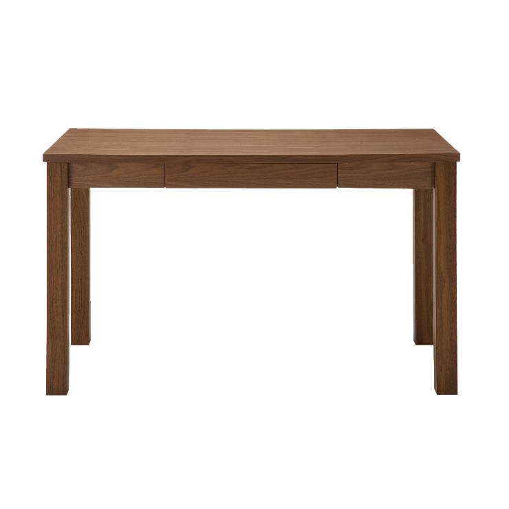 書斎デスク 幅120cm 木製 北欧風 引き出し付き ブラウン