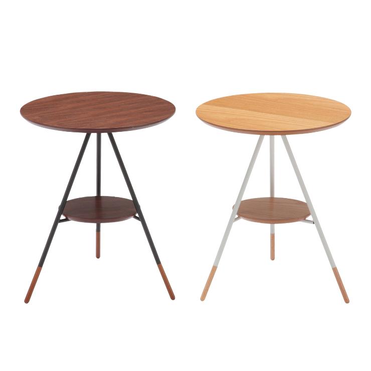 サイドテーブル 幅41.5cm 円形 ブラウン ナチュラル
