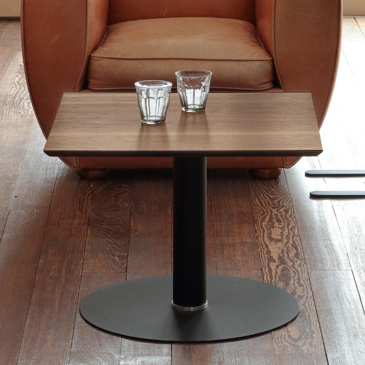 リビングテーブル 木製 幅60cm モダン 正方形 ブラウン