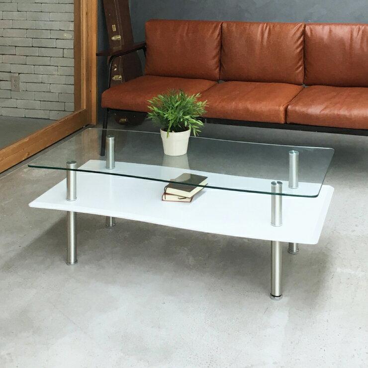 センターテーブル ローテーブル 幅110cm ガラス天板 棚付き モダン ホワイト ブラック ダークブラウン