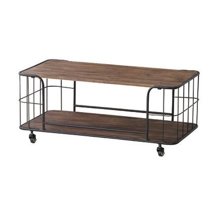 センターテーブル ローテーブル リビングテーブル コーヒーテーブル てーぶる 幅90cm キャスター付き ブラウン 木製