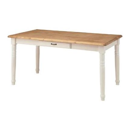ダイニングテーブル 幅150cm ホワイト 白 ナチュラル 木製 カントリー風 4人用 四人用 食堂テーブル 食卓テーブル カフェテーブル てーぶる