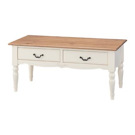 センターテーブル ローテーブル リビングテーブル コーヒーテーブル てーぶる 幅90cm ホワイト 白 木製 フレンチカントリー風