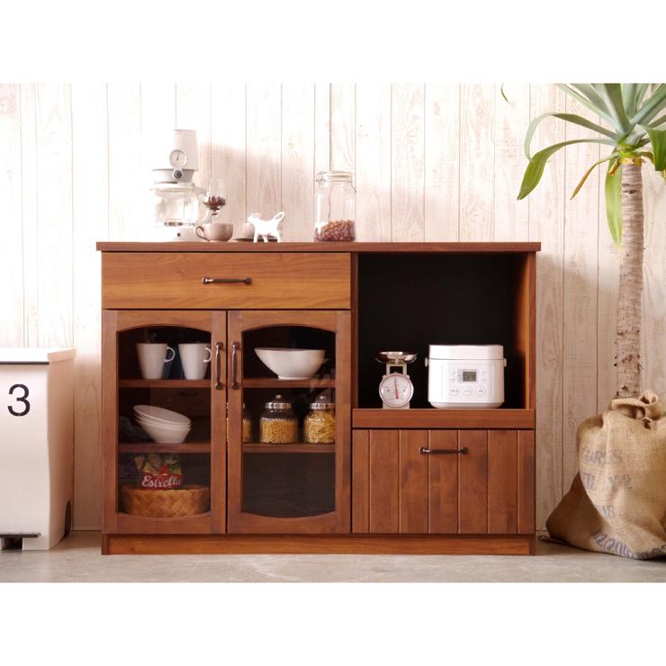 キッチンカウンター 完成品 幅120cm 120cm幅 120幅 ブラウン 木製 アンティーク風 キッチン収納家具 食器収納 食器棚 家電収納 キッチンボード