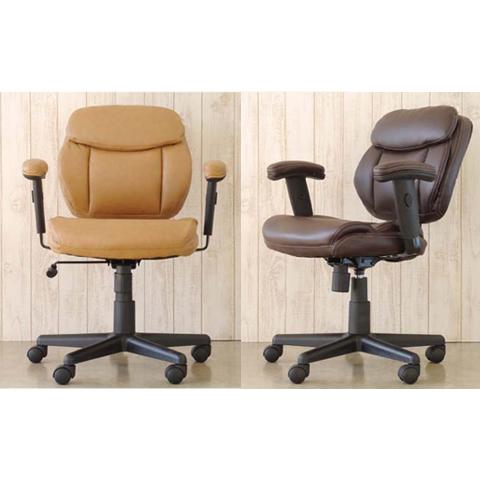 オフィスチェアー 肘付き ベージュ ブラウン 合皮製 モダン風 事務用チェアー 事務用椅子 デスクチェアー ワークチェアー パソコンチェアー ワーキングチェアー おしゃれ