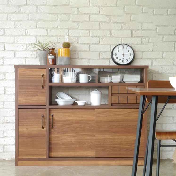 キッチンカウンター 幅120cm 120cm幅 120幅 ブラウン 木製 北欧風 キッチン収納家具 食器収納 食器棚 キッチンボード