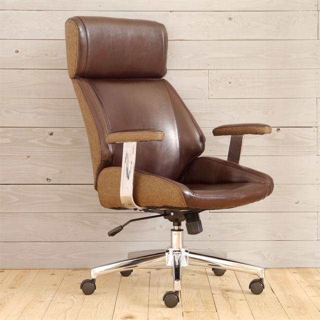 オフィスチェアー 肘付き ブラウン 合皮張り製 モダン風 事務用チェアー 事務用椅子 デスクチェアー ワークチェアー パソコンチェアー ワーキングチェアー おしゃれ