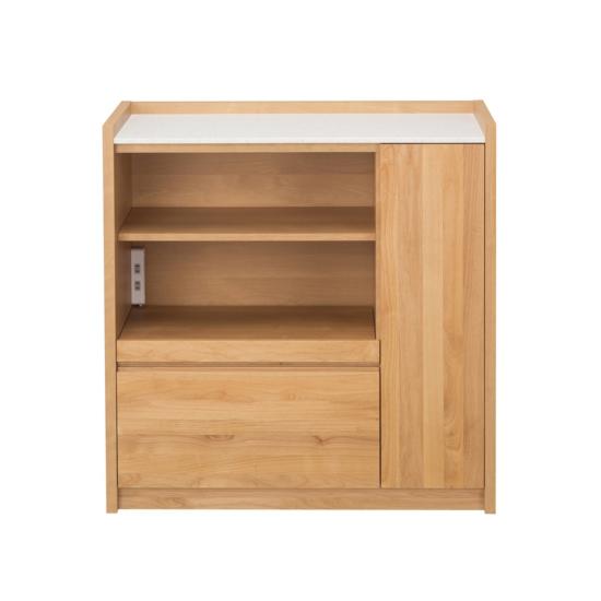 キッチンカウンター 完成品 幅90cm 木製 アルダー 北欧風 国産品 ナチュラル ブラウン 食器棚 堀田木工所