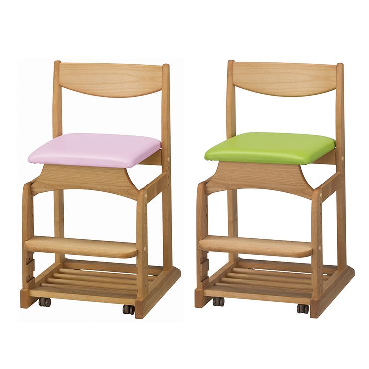学習チェアー 椅子 いす デスクチェアー 勉強椅子 ナチュラル ピンク グリーン 緑 アルダー 国産品 日本製 堀田木工所 ダック No.5