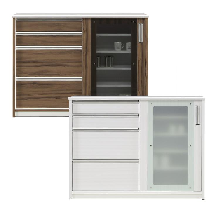 食器棚 キッチンボード ダイニングボード キッチン収納棚 水屋 バーカウンター キッチンカウンター 完成品 引き戸タイプ 幅120cm 引き出し付き