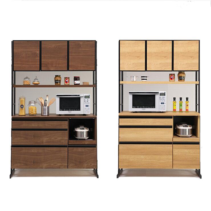 【室内搬入設置無料】食器棚 レンジ台 完成品 幅123cm ブラウン ナチュラル