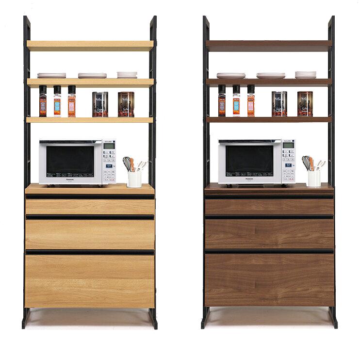【室内搬入設置無料】食器棚 レンジ台 完成品 幅84cm ブラウン ナチュラル