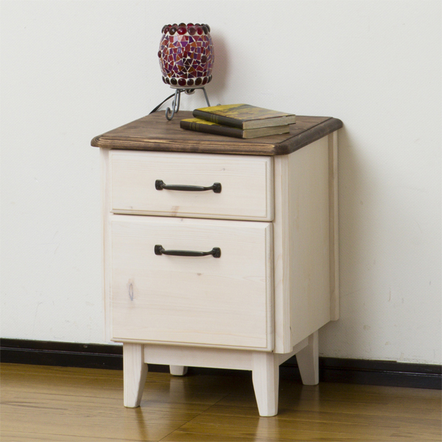 Side Table Width 40 Cm Whitewash White Brown Wood French Country Style Sofa Bed Corner Sofaer Said Bedside Coffee
