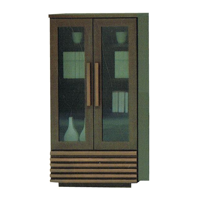 キャビネット 完成品 60cm幅 幅60cm 木製 北欧風 ガラスキャビネット ブラウン 国産品 日本製 リビング収納家具 サイドボード 飾り棚 飾棚 リビングボード 収納棚 リビングラック シェルフ