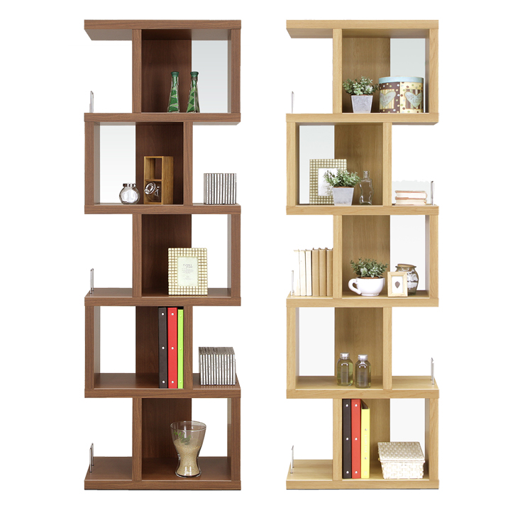 Open Rack Shelf Completed Width 60 Cm Brown Natural Wood Modern Living Storage Furniture