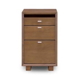 デスクチェスト 木製 モダン 北欧風 デスク収納 サイドチェスト 袖箱 キャビネット オフィス収納 ブラウン