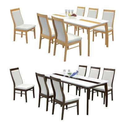ダイニング7点セット ナチュラル ブラウン 木製 モダン風 ダイニング7点セット ダイニングテーブルセット 6人掛け カフェテーブルセット 食堂セット 食卓セット 6人用 六人用 六人掛け