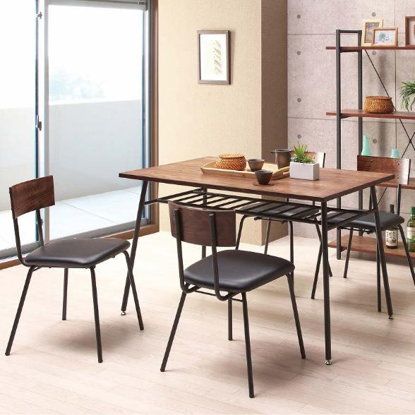 ダイニングテーブルセット ダイニングセット 5点セット 4人掛け 4人用 食堂セット 食卓テーブルセット ダイニング5点セット カフェテーブルセット 四人掛け 四人用 ミッドセンチュリー風 ブラウン