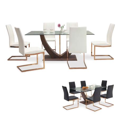 ダイニングテーブルセット ガラスダイニングセット 7点セット 6人掛け 6人用 食堂セット 食卓テーブルセット ダイニング7点セット・カフェテーブルセット 六人掛け 六人用 モダン ホワイト 白 ブラック 黒