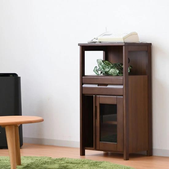 電話台 ファックス台 完成品 スリム 幅45cm 引き出し付き