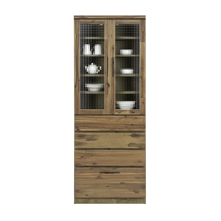 食器棚 完成品 幅70cm 70cm幅 70幅 約高さ180cm 引き出し付き 木製 ダイニングボード キッチンボード 食器収納家具 キッチン収納棚 水屋 国産品 日本製