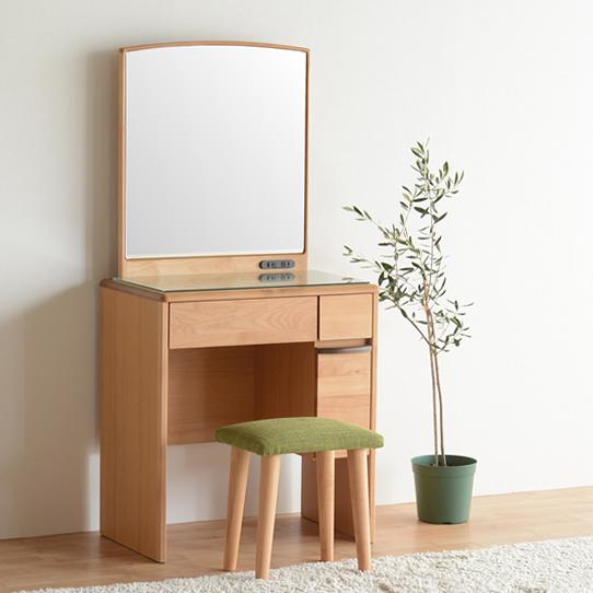 ドレッサー 鏡台 化粧台 どれっさー スツール付き ナチュラル 木製 北欧