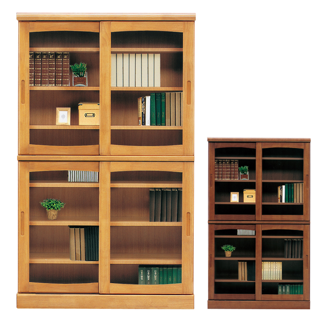 Bookcase Bookshelf Completed 105 Cm Width Wide Sliding Doors Wooden Country Style Light Brown Dark Magazine Racks This Storage