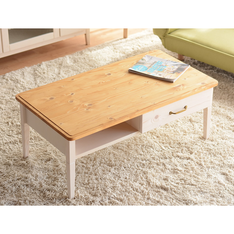 センターテーブル ローテーブル リビングテーブル 木製 引き出し付き 引出収納付き 棚付き コーヒーテーブル てーぶる 幅100cm ホワイトウォッシュ カントリー風