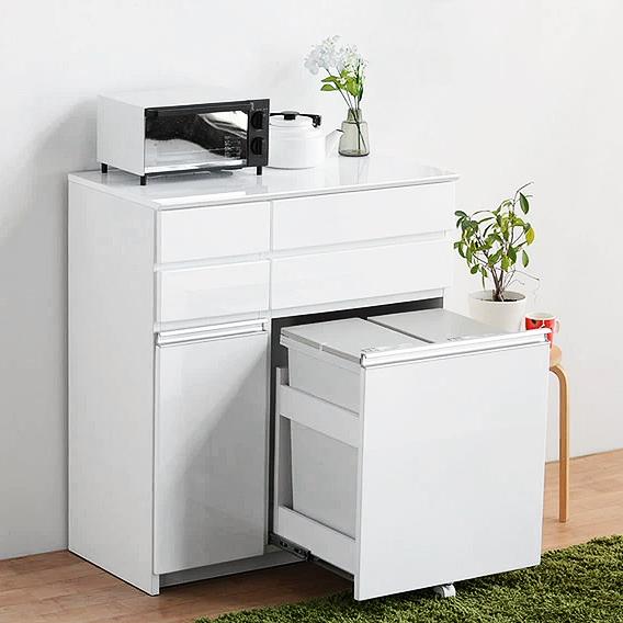 ダストボックス ダストカウンター キッチンカウンター 完成品 約幅90cm ホワイト 白 木製 モダン 国産品 日本製