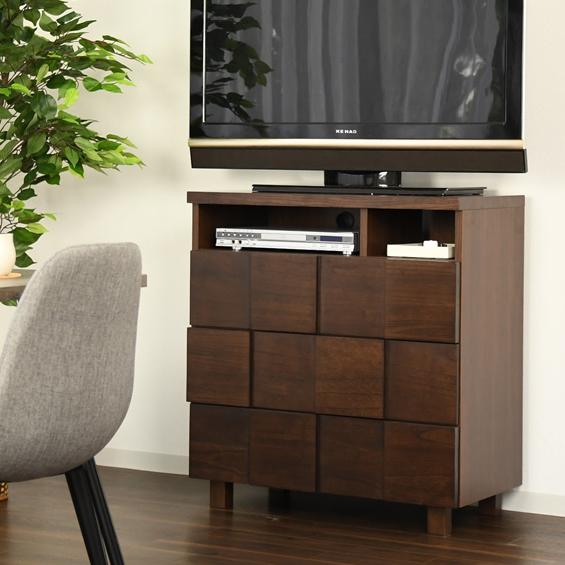 テレビ台 ハイタイプ 完成品 約幅80cm 北欧風 ブラウン