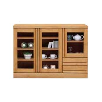 キャビネット 収納棚 完成品 木製 約幅120cm ロータイプ 引き出し付き ガラス扉付き ナチュラル