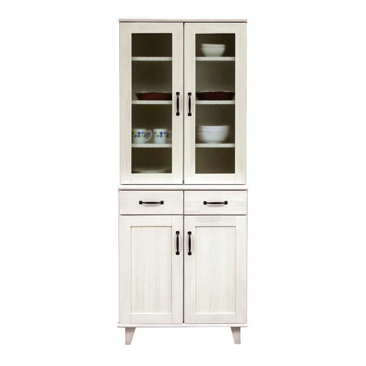 食器棚 完成品 幅70cm ホワイト