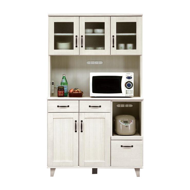 食器棚 レンジ台 完成品 幅105cm ホワイト