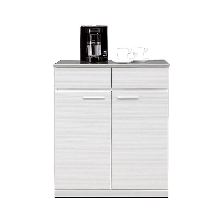 キッチンカウンター 完成品 幅80cm 80cm幅 80幅 ホワイト 白 木製 モダン風 キッチン収納家具 食器収納  食器棚 家電収納 キッチンボード 国産品 日本製