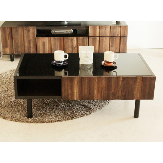 センターテーブル ローテーブル リビングテーブル コーヒーテーブル てーぶる 幅105cm ブラウン 木製 アジアン風