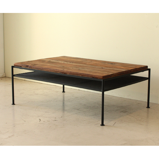 センターテーブル ローテーブル リビングテーブル コーヒーテーブル てーぶる 木製 アンティーク風 幅95cm ブラウン