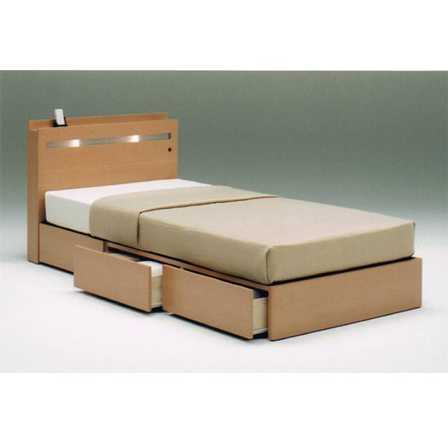 Beau Single Bed Frame Single Bed Frame Width 100 Cm With Drawer Natural Brown  Wood Modern 05P13Dec14