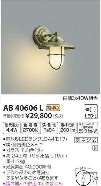 [マラソン中エントリーでポイント10倍]コイズミ照明 AB40606L ブラケット 一般形 自動点灯無し LED