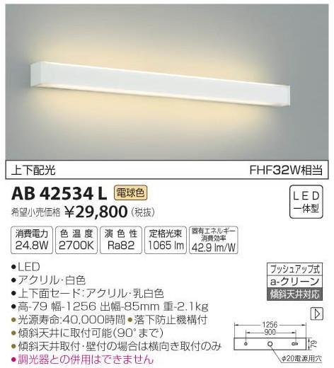 [マラソン中エントリーでポイント10倍]コイズミ照明 AB42534L ブラケット 一般形 自動点灯無し LED