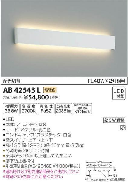[マラソン中エントリーでポイント10倍]コイズミ照明 AB42543L ブラケット 一般形 自動点灯無し LED