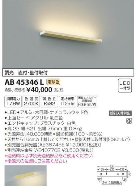 [マラソン中エントリーでポイント10倍]コイズミ照明 AB45346L ブラケット 一般形 自動点灯無し LED