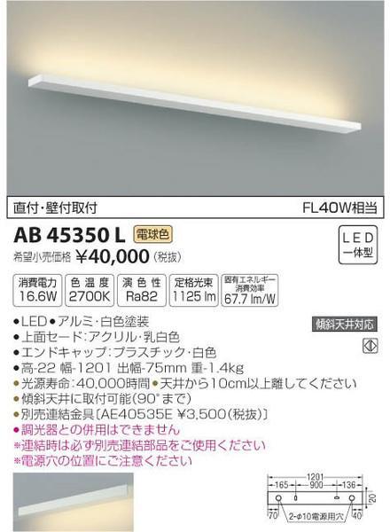 [マラソン中エントリーでポイント10倍]コイズミ照明 AB45350L ブラケット 一般形 自動点灯無し LED