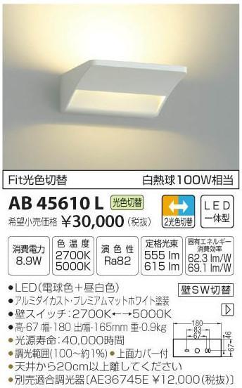 [マラソン中エントリーでポイント10倍]コイズミ照明 AB45610L ブラケット 一般形 自動点灯無し LED